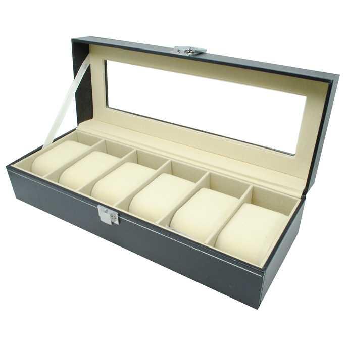 Kotak Jam Tangan Luxury 6 Slot