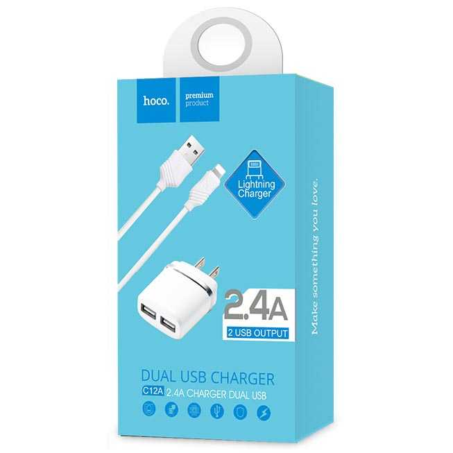 Hoco C12A USB Charger 2 Port 2.4A