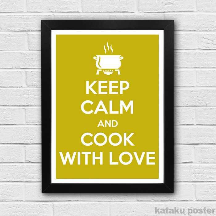 Jual Poster Keep Calm And Cook With Love Hiasan Dinding Dapur Jakmall