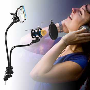 Fleksibel Stand Mikrofon dan Lazypod Smartphone Holder Universal NB-22
