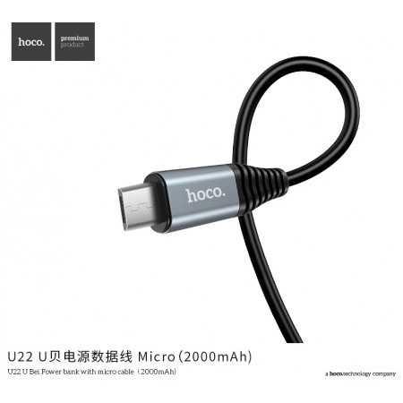 HOCO U22 Power Bank 2000mAh dengan Kabel Charger Micro USB 1.2 Meter