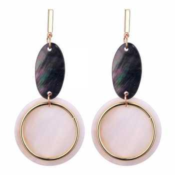 LRC Anting Tusuk Fashion Black+beige Geometric Shape Decorated Earring
