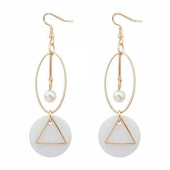 Simple Hollow Out Source · LRC Anting Gantung Fashion White Geometric Shape Decorated .