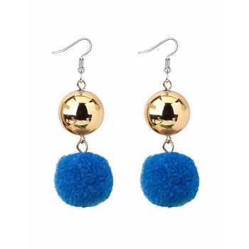 LRC Anting Gantung Elegant Fuzzy Ball Decorated Pom Earrings .