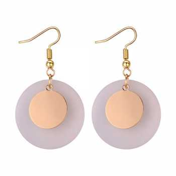 LRC Anting Gantung Fashion Gold Color Round Shape Decorated Earrings