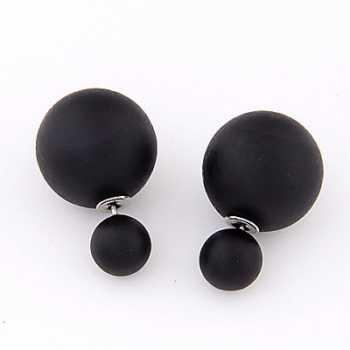 LRC Anting Tusuk Native Black Pure Color Round Shape Simple Design