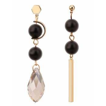 LRC Anting Tusuk Elegant Coffee Oval Shape Diamond Decorated Earrings .