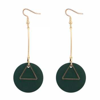 LRC Anting Gantung Round Shape Pendant Decorated Simple Earrings