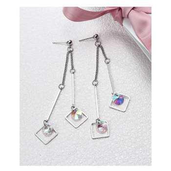 LRC Anting Tusuk Fashion Gold Color Square Shape Design Earrings
