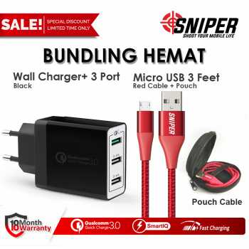 BUNDLING Sniper Wall Charger+3 BW & Nylon Braided Micro USB 3ft RED