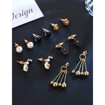 LRC Anting Sets Gold Color Pearls&flowers Decorated Earrings