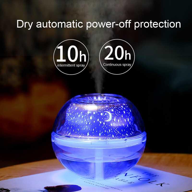 Pengharum Ruangan Air Humidifier Difusser LED Night Projection Lamp 500ml