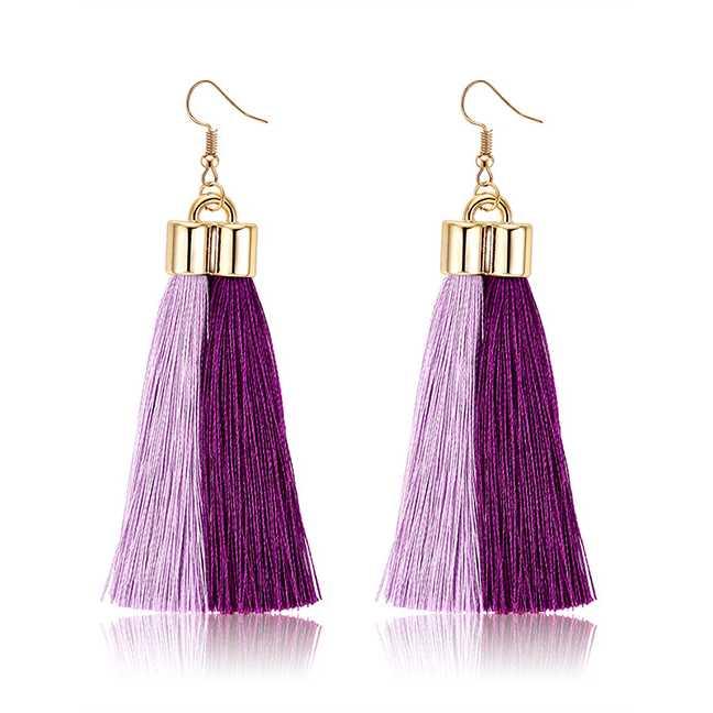 Jual LRC Anting Gantung Fashion Purple+pink Tassel Decorated | Jakmall.com