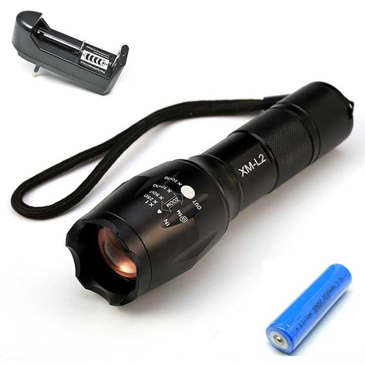 Paket Senter LED Flashlight Cree XM-L2+Baterai+Charger