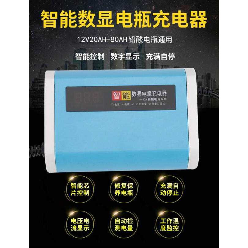 Charger Baterai Aki Mobil Motor LCD Display 12V 6A - YX12V6A-4