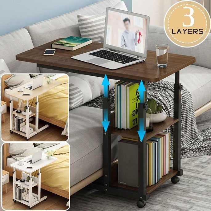 Meja Rak Laptop Adjustable Desk With 2 Rack