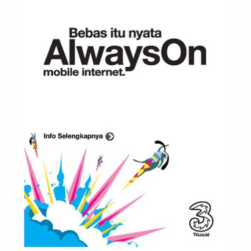 THREE - Always On AON 12 Bulan + Bonus Kuota 4G SUDAH AKTIF
