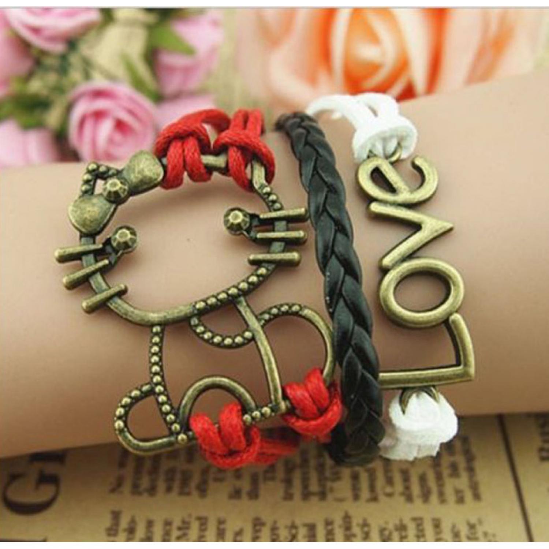 Gelang Vintage Love Cat Leather Bracelet Bangle Women - Q7