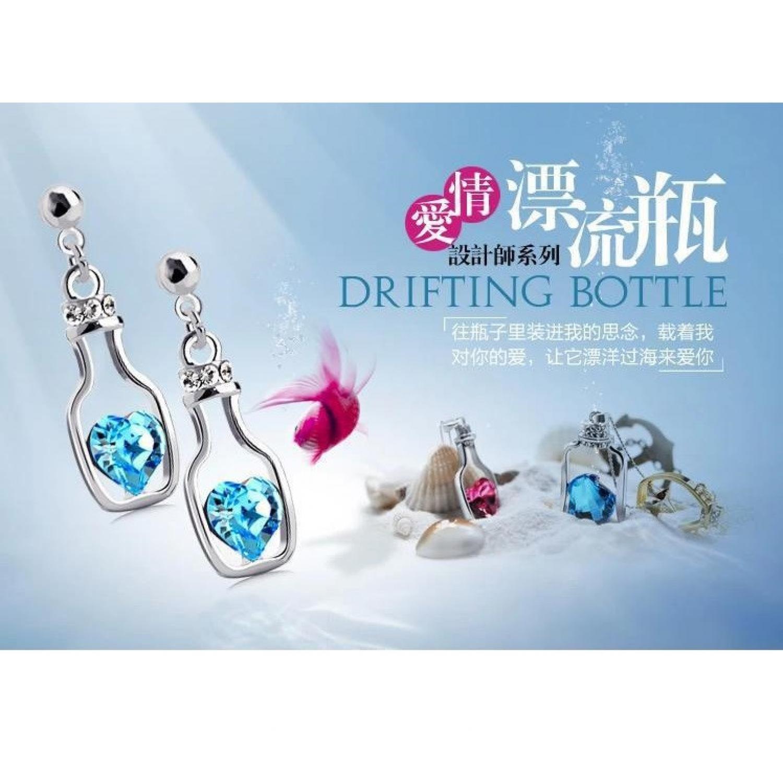 Wishing Bottle Earrings Crystal 925 Sterling Silver / Anting Wanita
