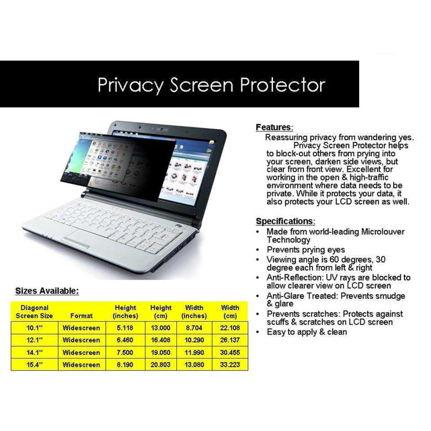 Anti Spy Screen Protector LCD 10.1 Inch Size 223 x 126 mm