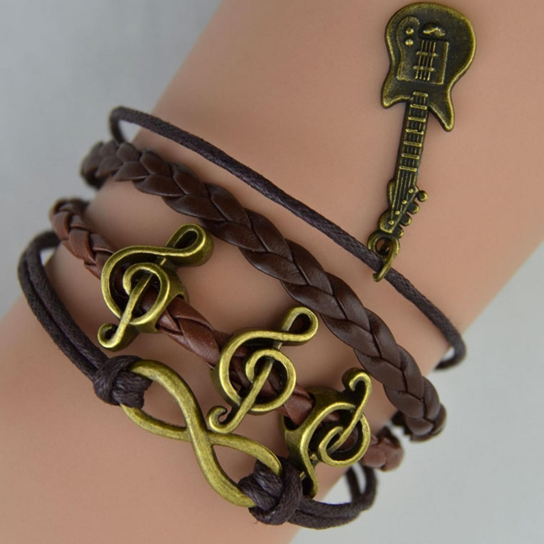 Gelang Vintage Musical Scale Leather Bracelet Bangle Women - Q16