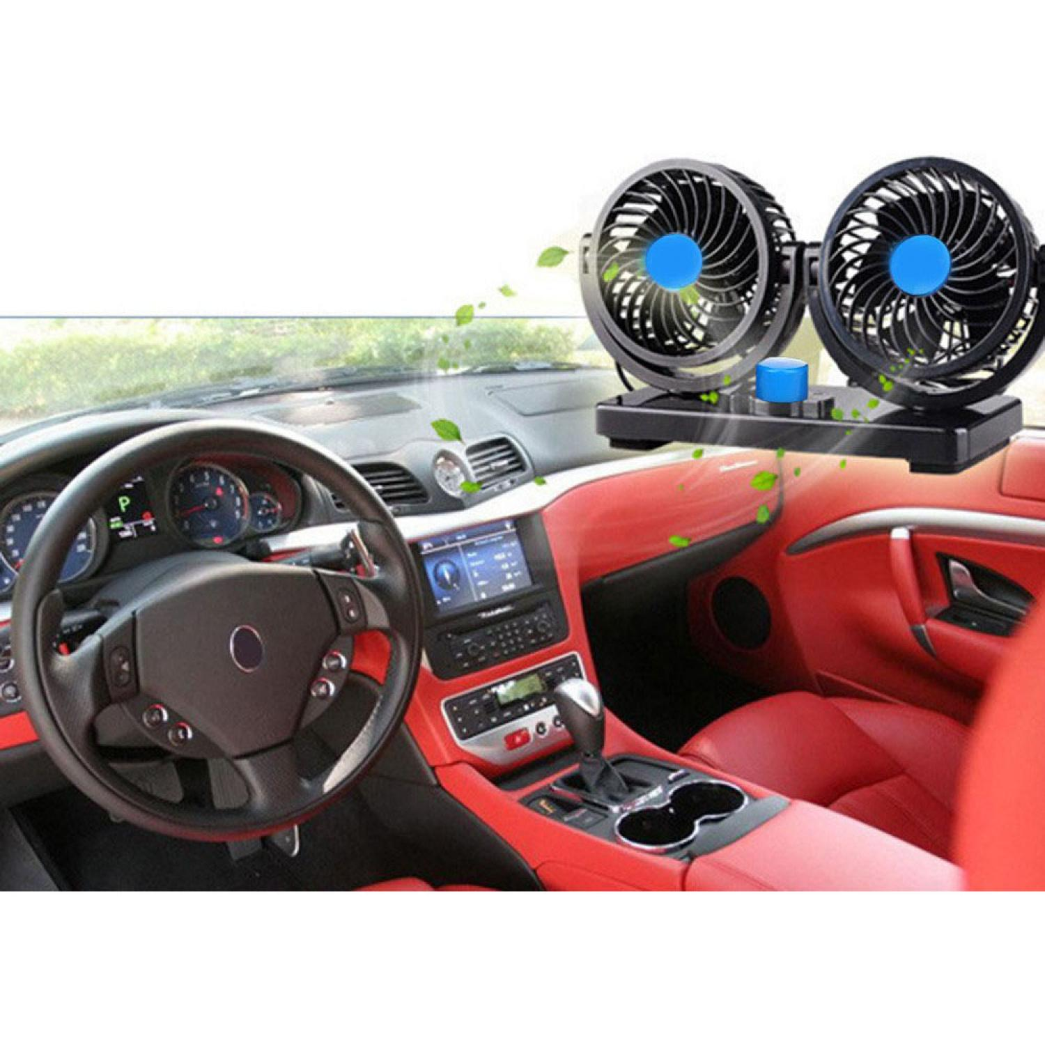 Kipas Mobil Dual Head 360 Degree Mini Electric Car Fan