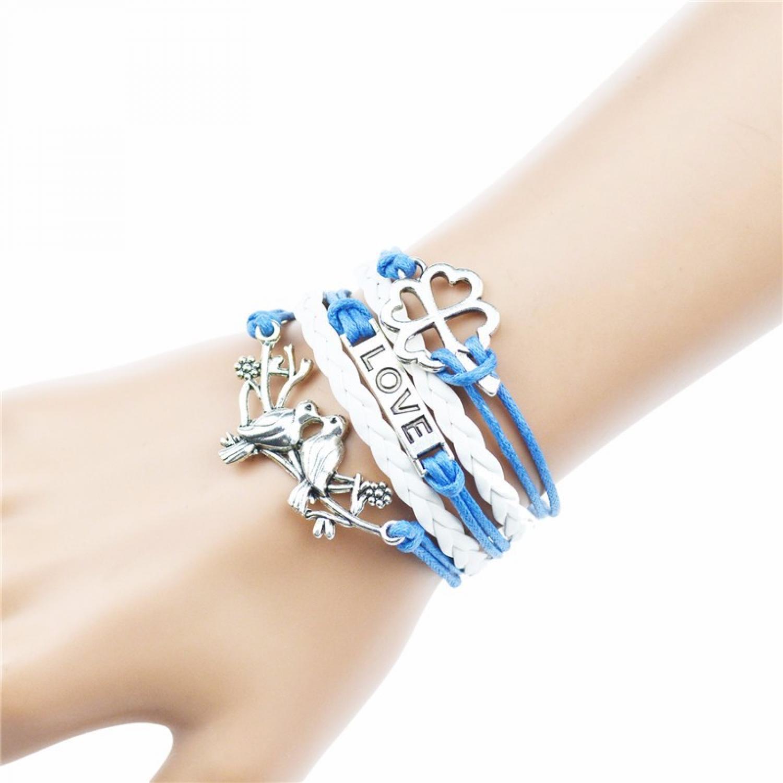 Gelang Vintage Butterfly Love Leather Bracelet Bangle Women - Q9