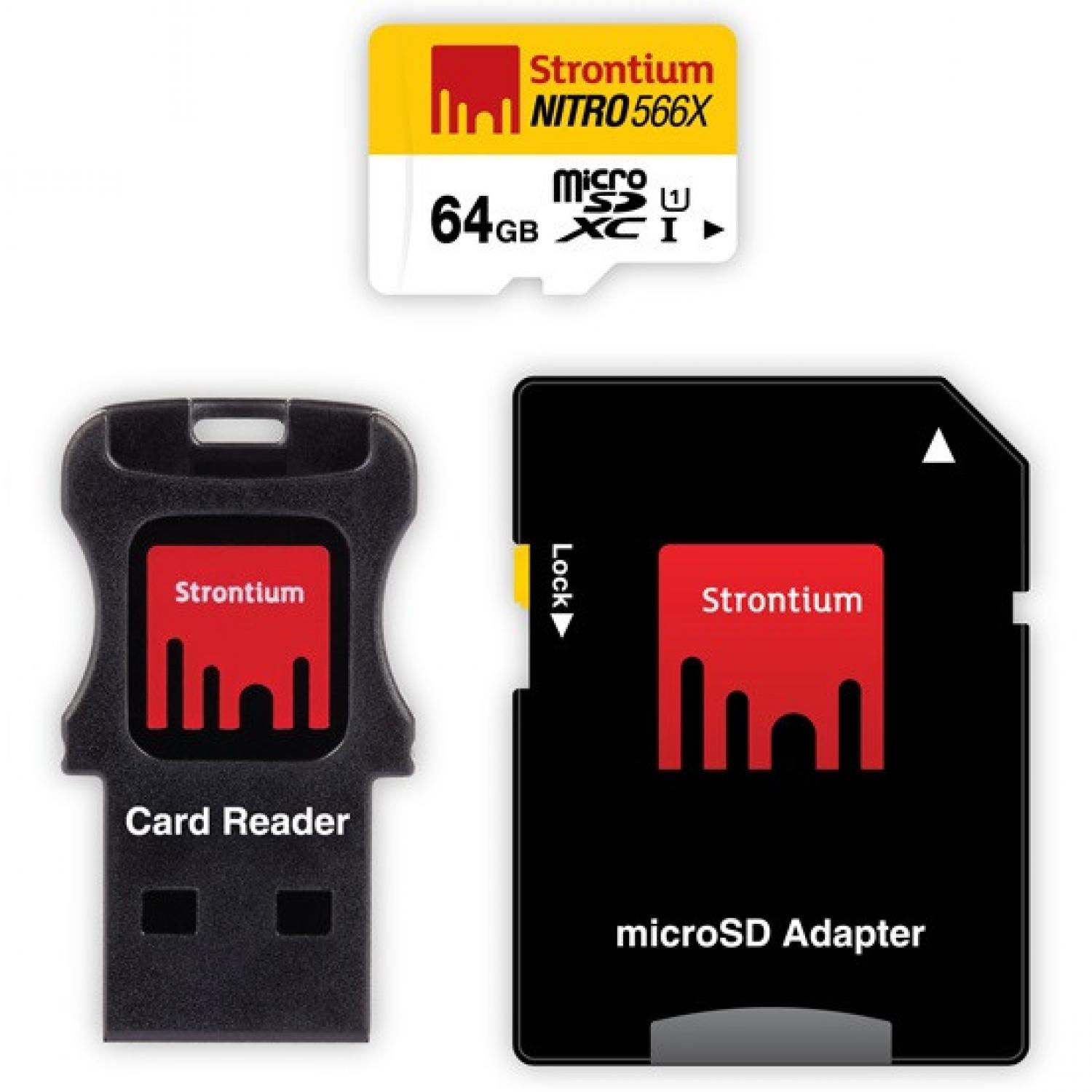 Strontium Nitro 566X MicroSDXC Class 10 with Adapter and Card Reader