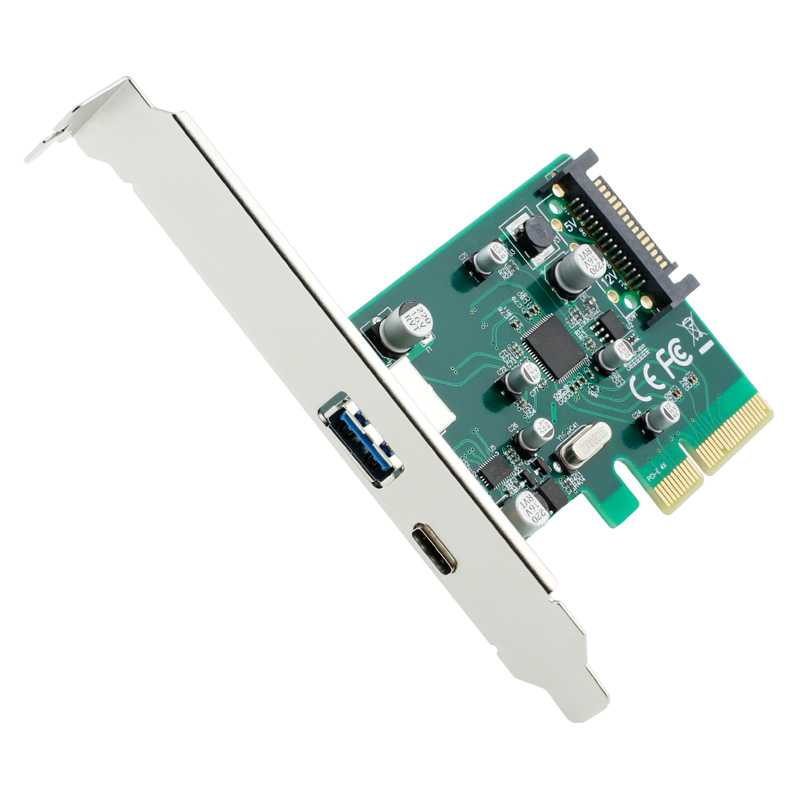 Kartu PCI-E 4x ke USB 3.0 & USB Type C dengan 15 Pin Connector