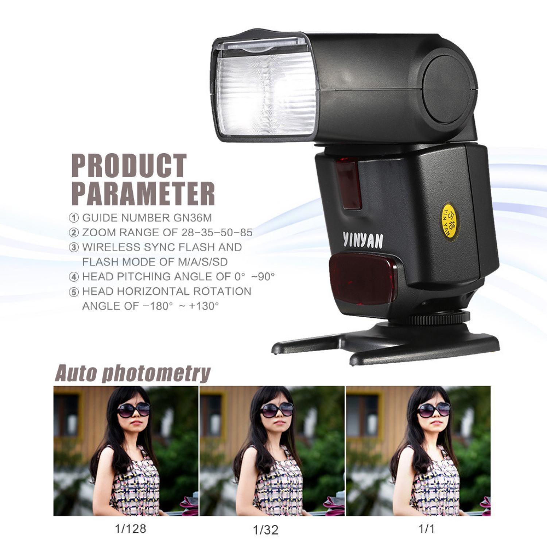 Yinyan Flash Kamera Zoom Speedlite 5600K Untuk DSLR Canon Nikon CY450M