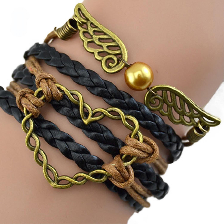 Gelang Vintage Love Wings Leather Bracelet Bangle Women - W1
