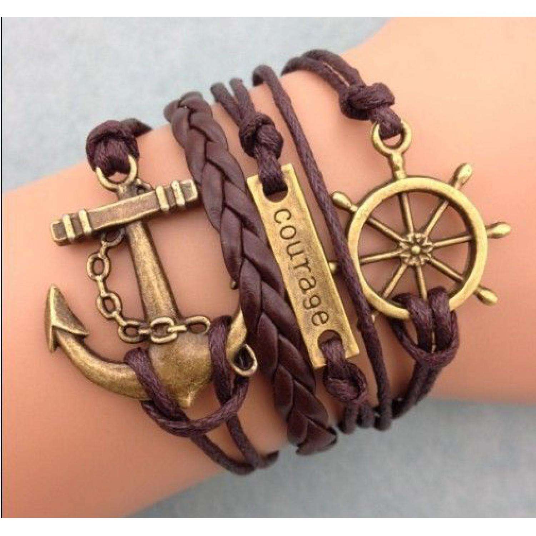 Gelang Vintage Friendship Charm Leather Bracelet Bangle Women - Q4