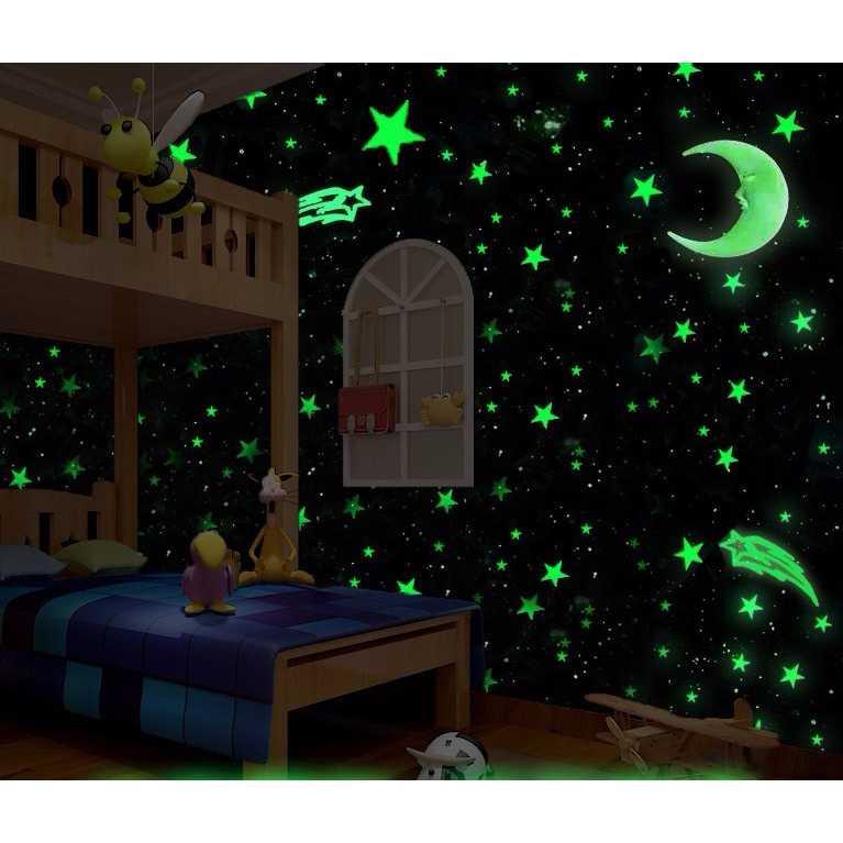 Stiker Dekorasi Bintang Glow in Dark 3.8cm 50 PCS