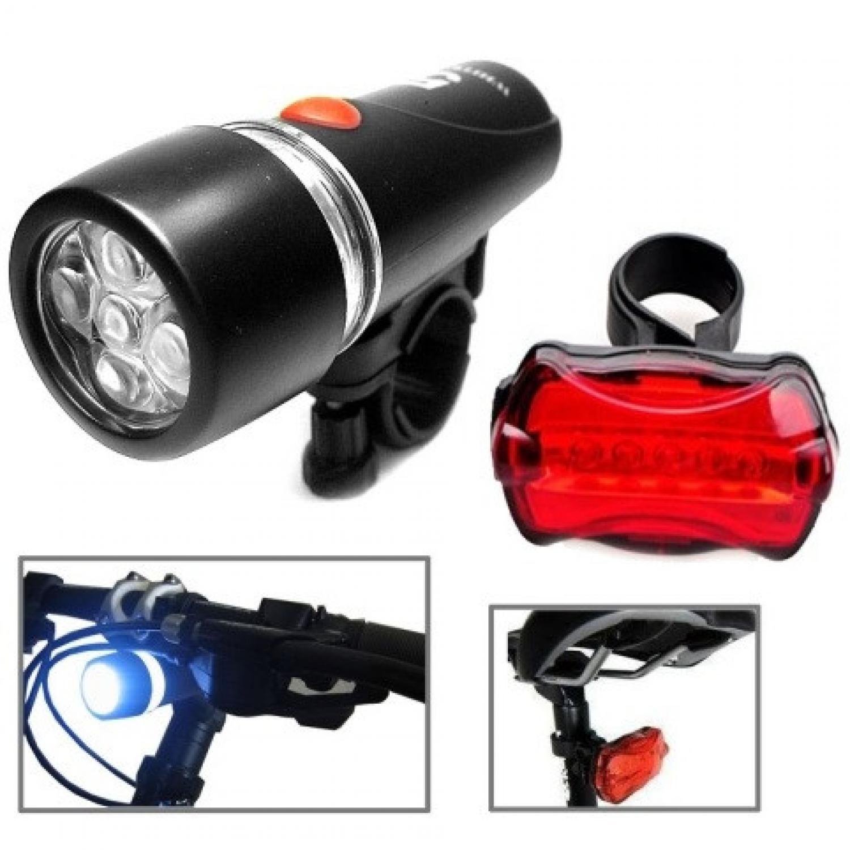 Powerbeam Lampu Depan Sepeda 5 LED & Lampu Belakang