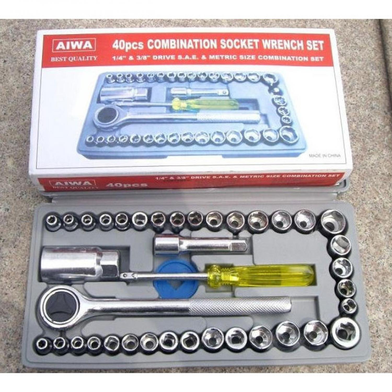Aiwa Kunci Pas 40 Pcs Multipurpose Socket Wrench Set 1/4 Ratchet