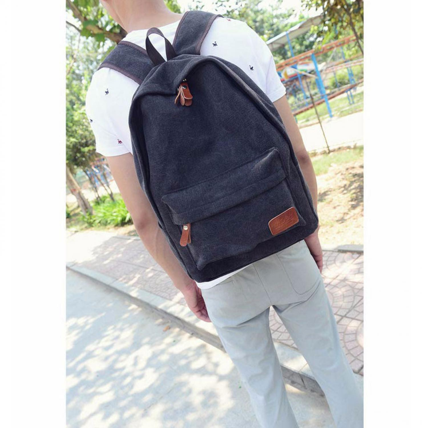 Mo&Y Tas Ransel Vintage Solid Canvas Backpack