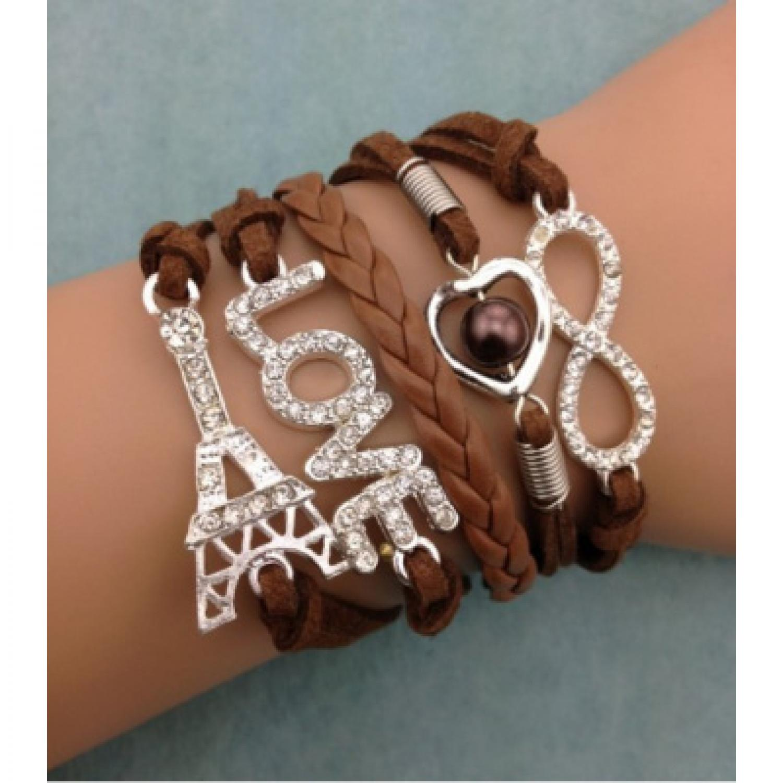 Gelang Vintage Eiffel in Love Charm Leather Bracelet Bangle Women - Q6
