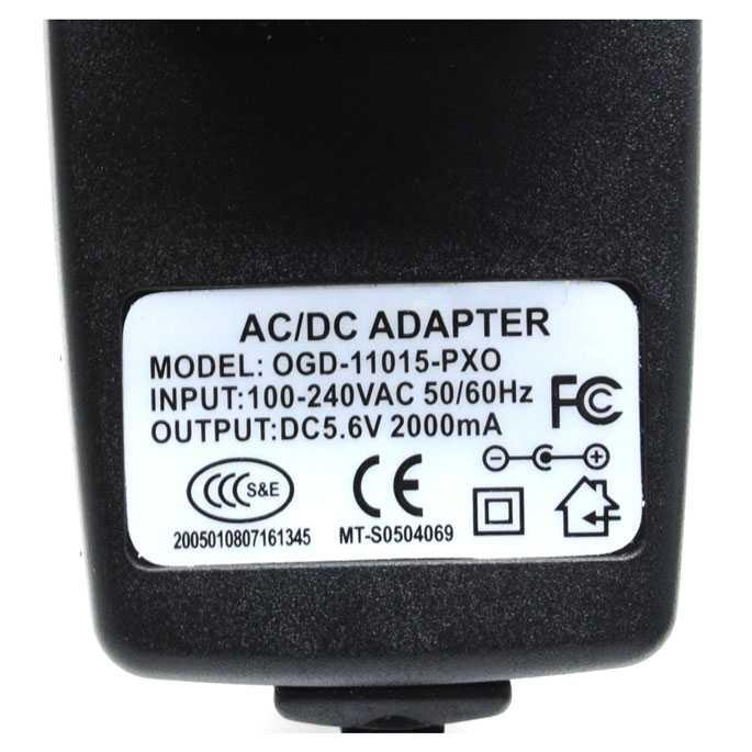 Adaptor Power Supply 5.6V 2000mA EU Plug - OGD-11015-PXO 14 DAYS