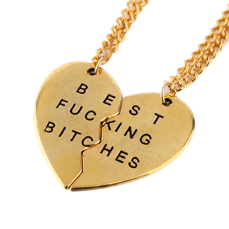 Broken Heart Best Fucking Bitch Necklace / Kalung Pasangan