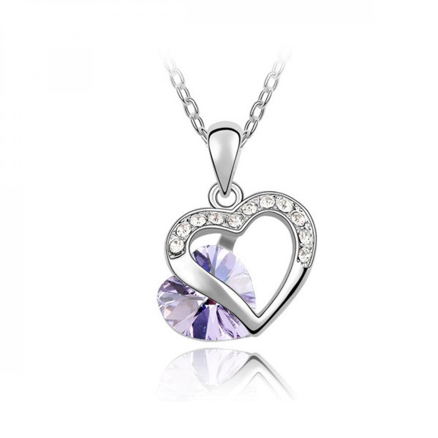 Kalung Liontin Wanita Double Heart Necklace 925 Sterling Silver