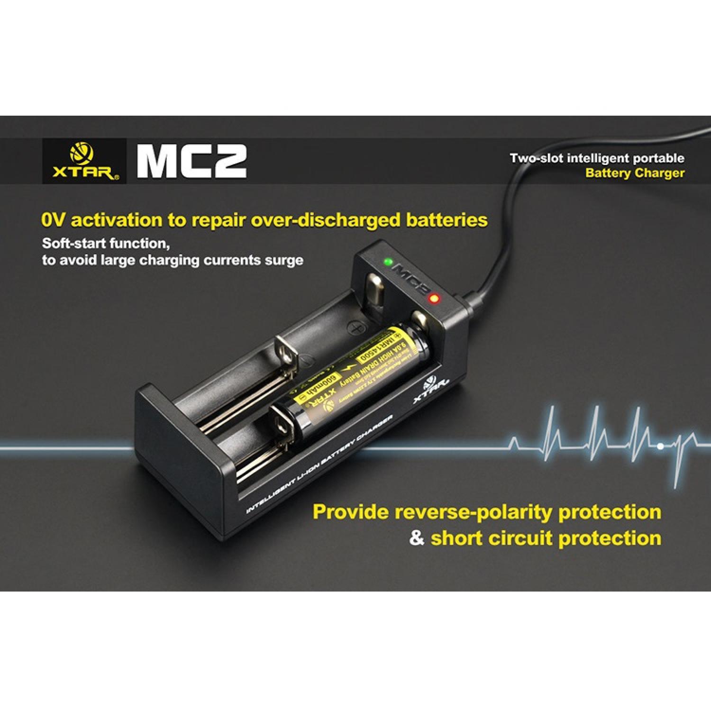 Xtar MC2 Portable Micro USB Dual Battery Charger for Li-ion and IMR
