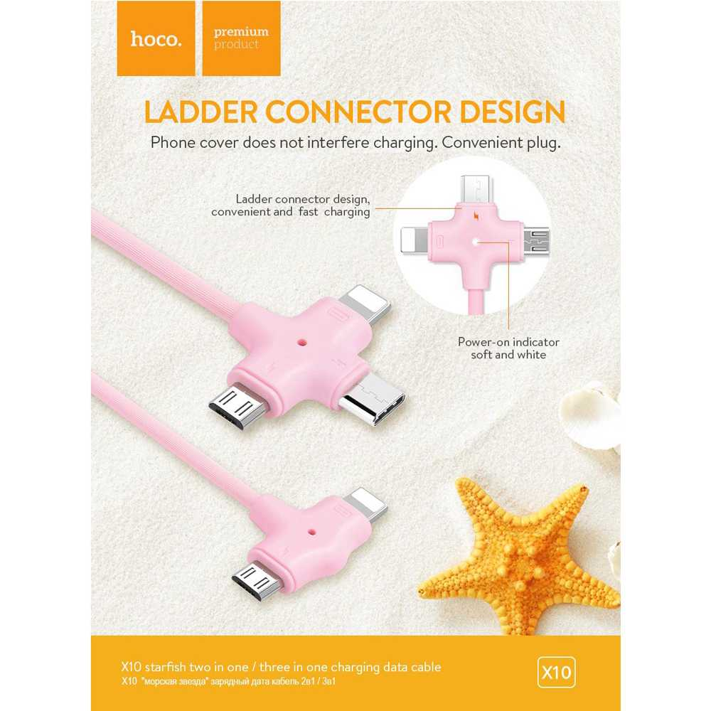 HOCO X10 Starfish Kabel Charger 2 in 1 Micro USB + Lightning