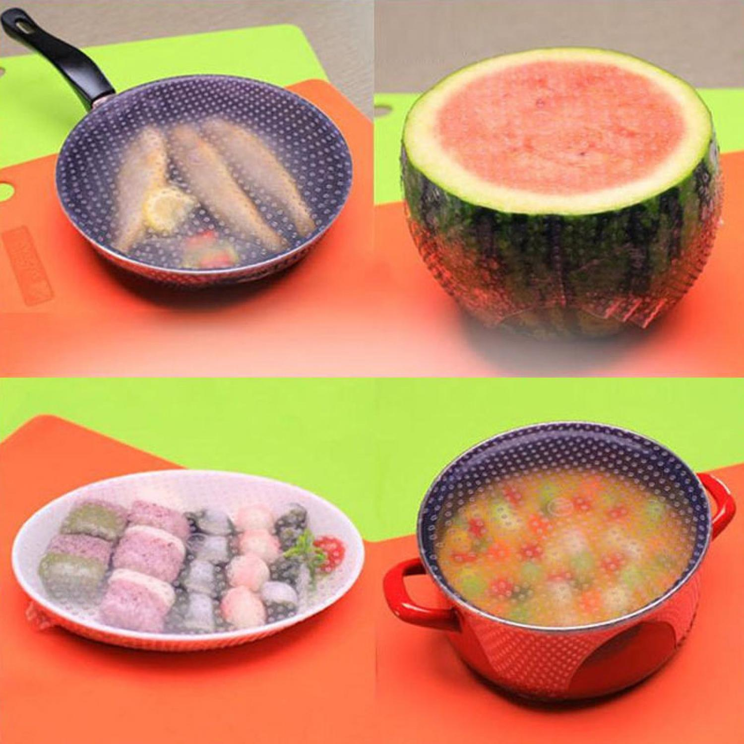 Silicone Stretch Fresh Food Cling Film Protection Pelindung Makanan