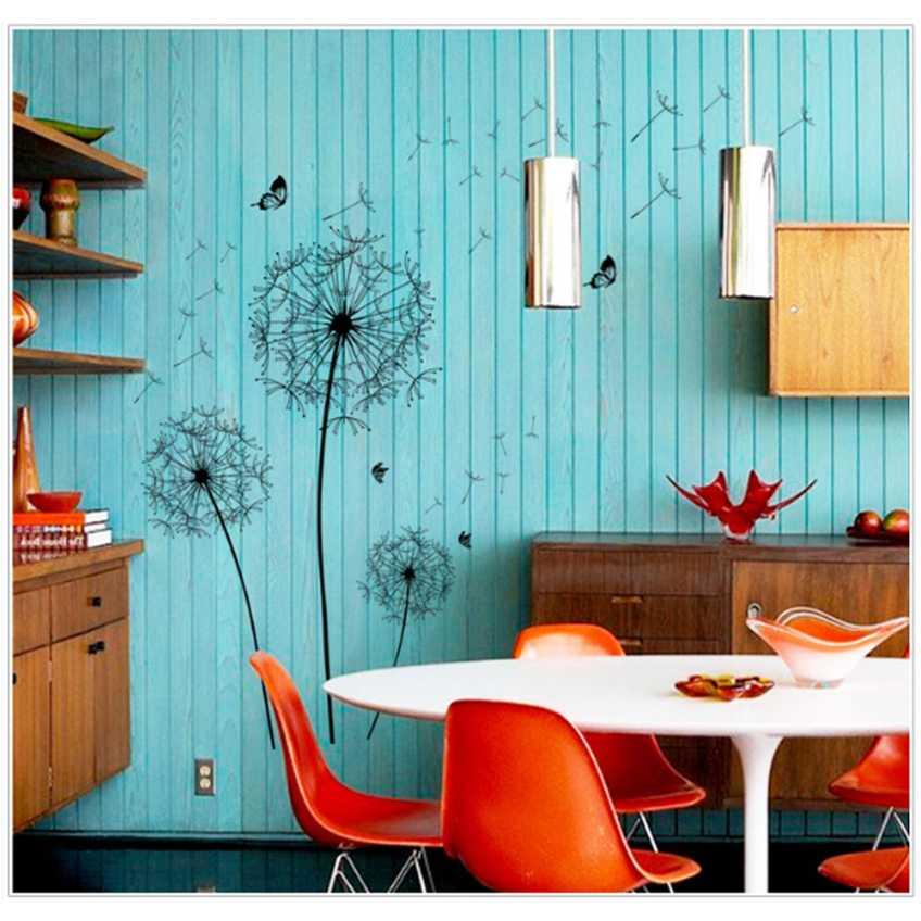 Sticker Wallpaper Dinding Black Dandelion