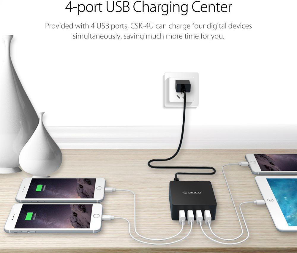 Orico Csk 4u 4 Port Desktop Smart Usb Charger Black Daftar Harga Dca Ports 110 200v Ac Wall 2x 5v1a 5v 2a Output Detect Your Device To Deliver Ideal Current Up 24a At Its Fastest Possible Speed