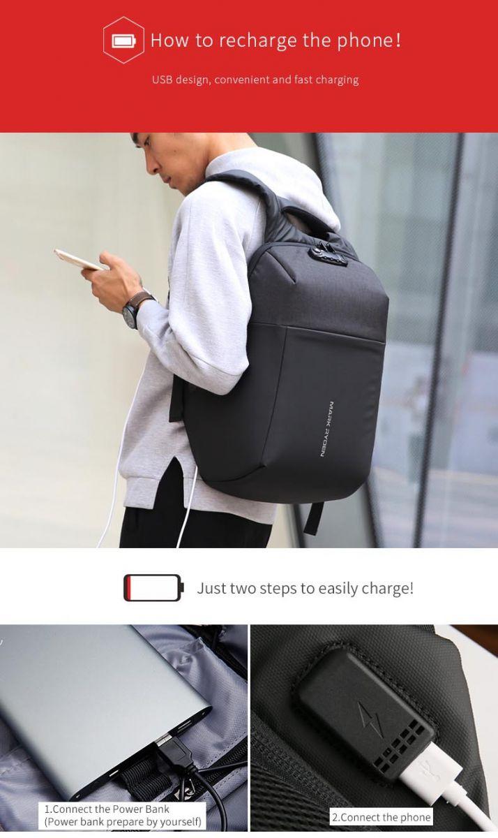 Jual Mark Ryden Tas Ransel Anti Maling Dengan Usb Charger Port Laptop Ada Dan Handset Package Contents